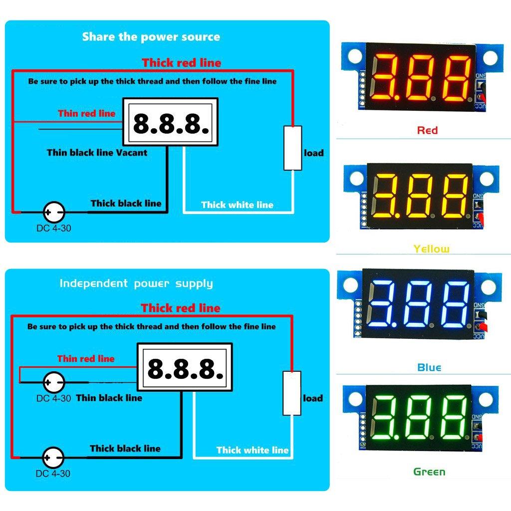 BIlinli DC0-10A Digital LED Amperemeter Current Panel Meter Ampere-Meter 0,36-Zoll-Modul Verpolungsschutz