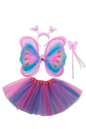 Tante Tina - Schmetterling Kostüm für Mädchen - 4-teiliges Set - Feenflügel / Schmetterlingsflügel Verkleiden - Pink/Violett/