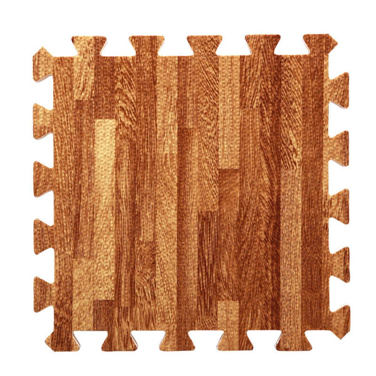 Cozylkx 10Pcs EVA Foam Wood Grain Floor Mats Wood Puzzle Mats,30301cm, Brown-10pcs TM 13861