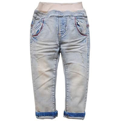 3865 spring baby boys jeans soft denim light blue casual pants kids child trousers