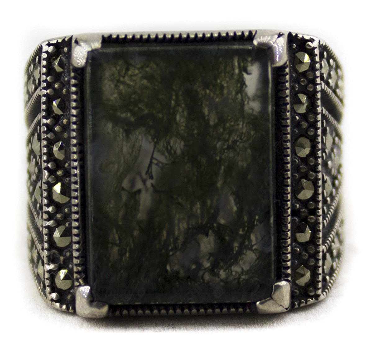 Falcon Jewelry Sterling Silver Men Ring Moss Agate Stone