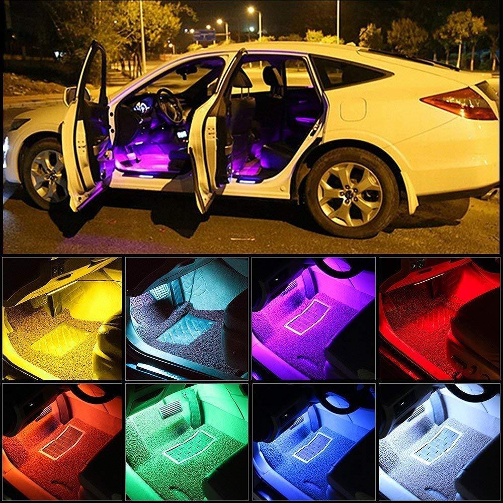 Tiras de neon LED de colores con mando para el coche