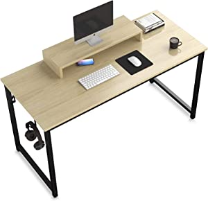 Computer Desk, 39 inch Study Writing Desk Simple Style Small PC Table for Home Office, Oak Board with Black Metal Frame