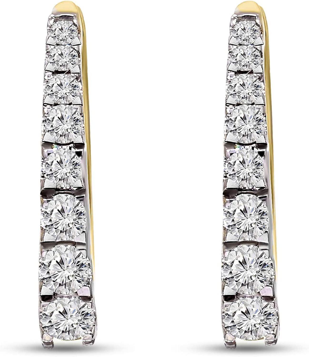 1/6 Ct to 7/8 Ct IGI Certified Diamond Hoop Earrings 10KT & 14KT White & Yellow Gold Natural Diamond Earrings For Women I1-GH Quality Diamond Hoop Earrings (Jewelry Gift For Women)