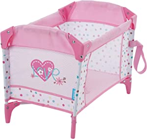 Hauck Love Heart Doll Pack and Play Yard, Folds for Easy Storage and Travel, Fits Dolls Up to 16 inches (D90723), Toy for Age 3 and Up, Care for Baby Doll Sleeping Role Play