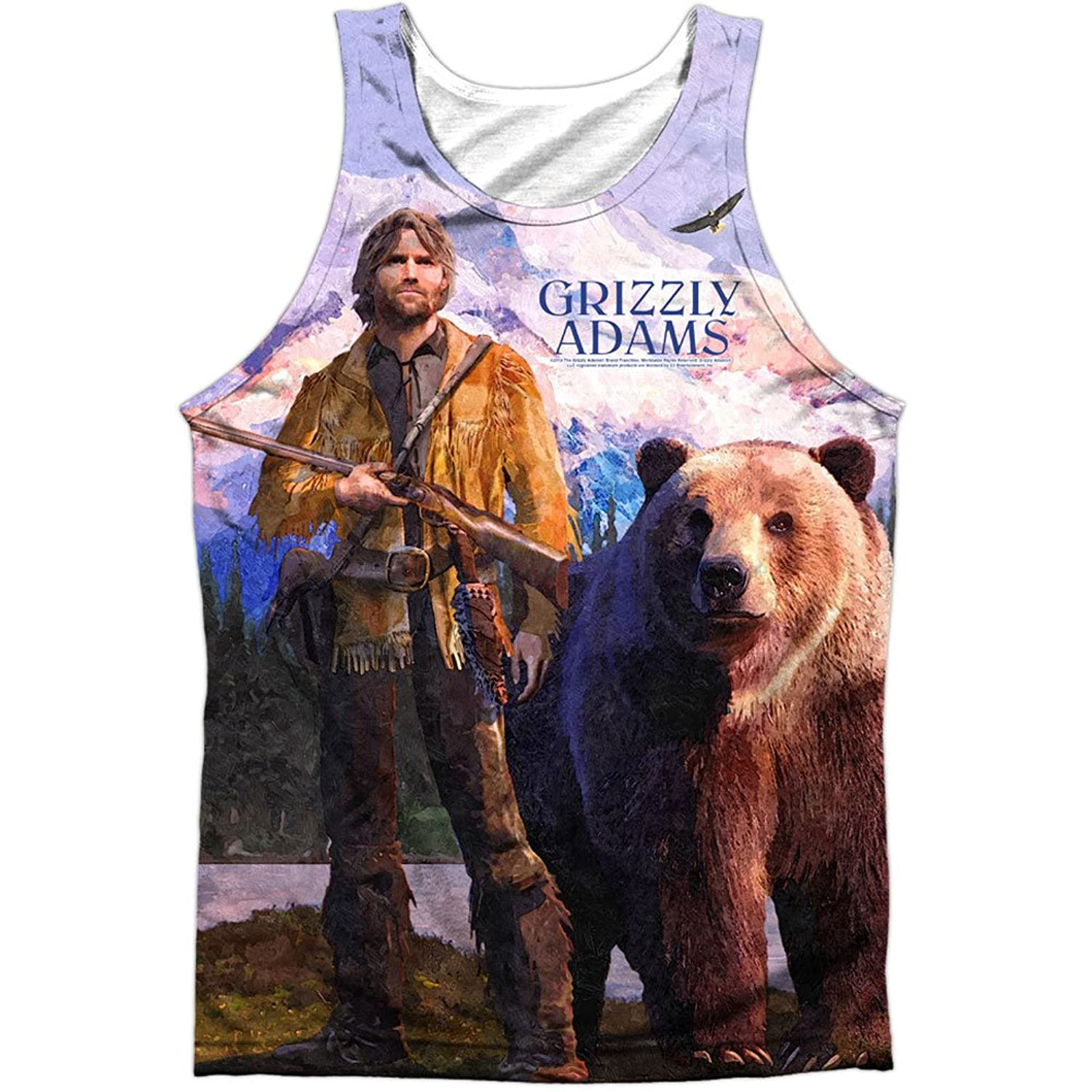Grizzly Adams 1970's TV Series Bear & Fugitive Poster Front Print Tank Top Shirt