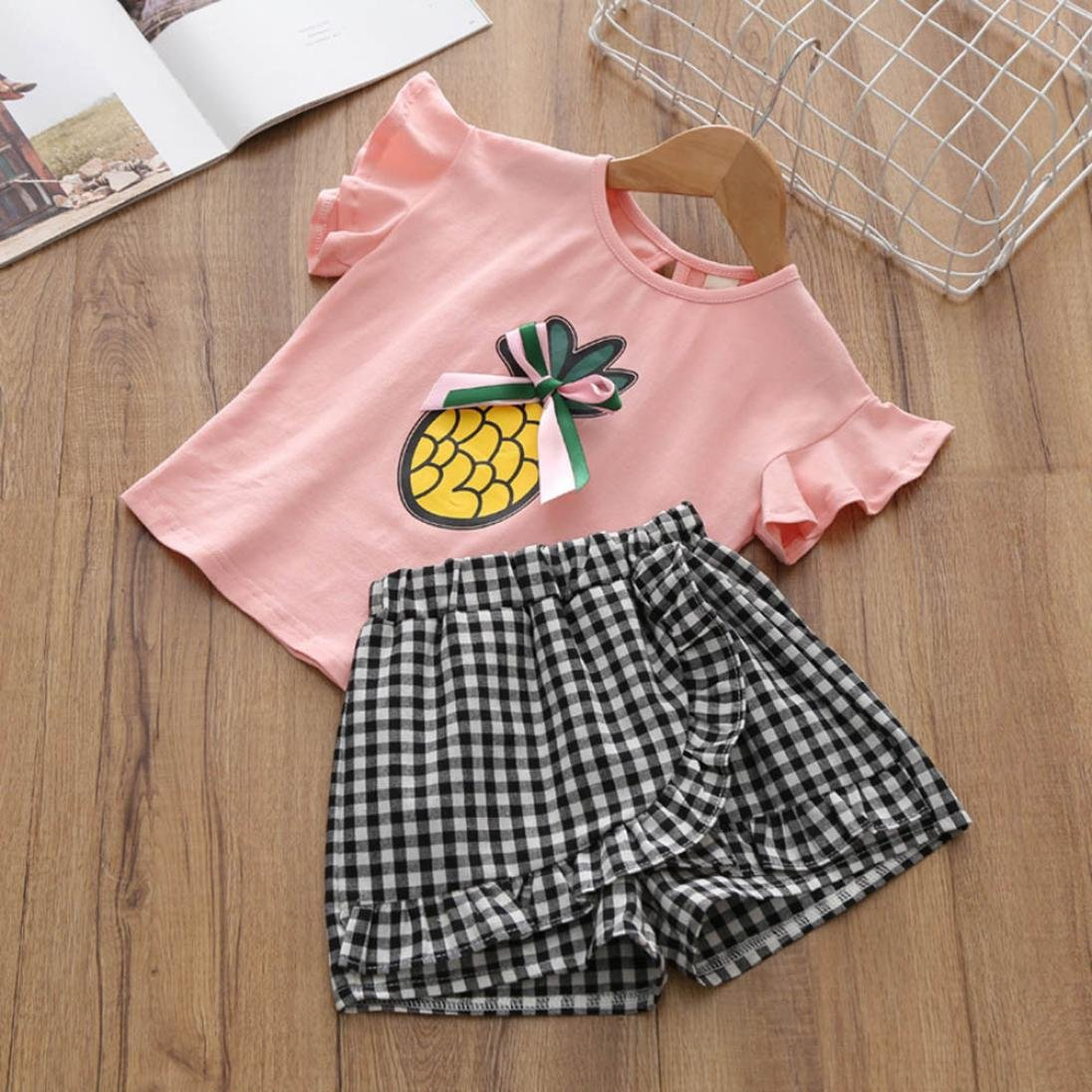 WARMSHOP Girls Outfit Clothes Set Short Sleeve Embroidery T-Shirt Tops Ruffle Plaid Shorts 1-6 Years