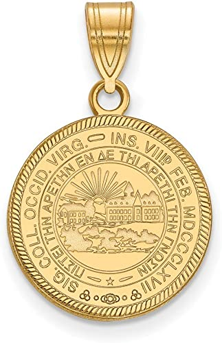 Jewel Tie 925 Sterling Silver with Gold-Toned West Virginia University Medium Pendant