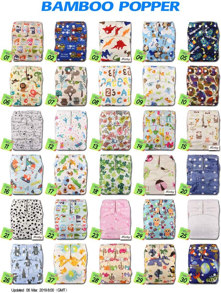 with 2 Bamboo Charcoal Inserts Baby Cloth Washable Reusable Nappy Pocket Diaper Bamboo Fastener: Hook-Loop Pattern 58 Littles /& Bloomz