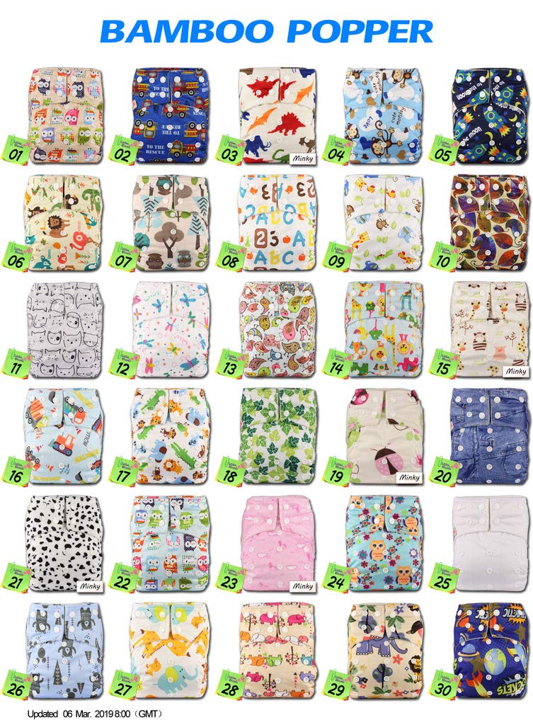 Littles /& Bloomz with 2 Bamboo Inserts Pattern 3 Baby Cloth Washable Reusable Nappy Pocket Diaper Bamboo Fastener: Popper