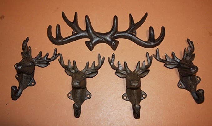 HOME DECOR BARN CAST IRON ECT ANTLERS WALL HOOK RACK COAT RANCH HAT