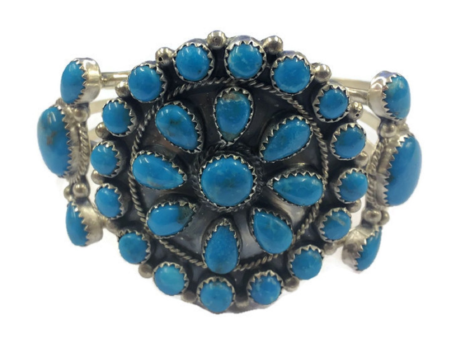 .925 Sterling Silver Native American Handcrafted Jewelry Kingman Turquoise Cuff