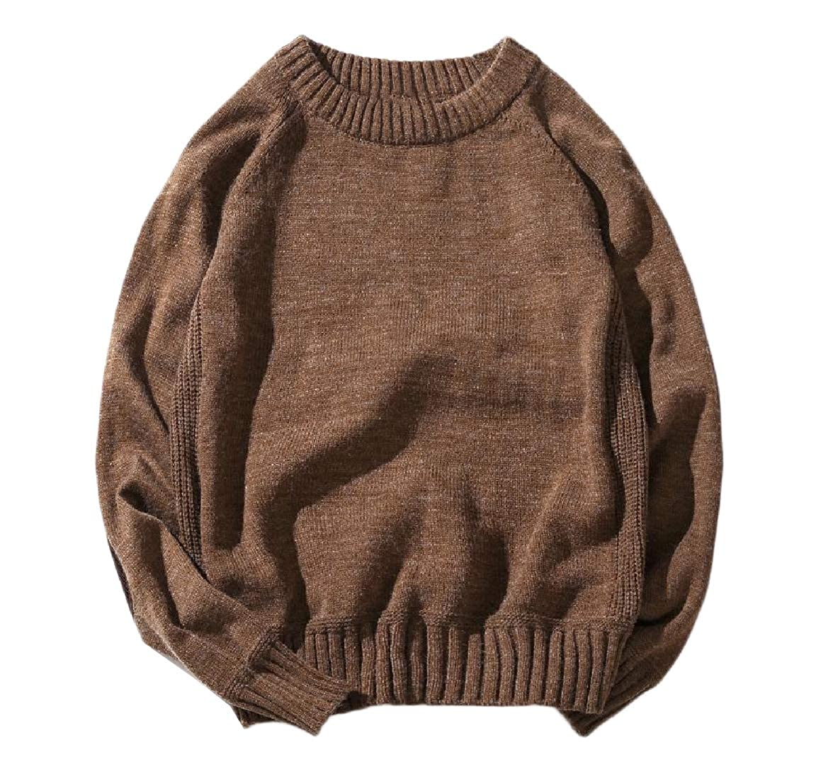 Andopa Men Ribbed Patches Vintage Warm Relaxed Knitting Sweater Jumper