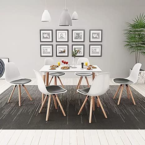 Furnituredeals 7 Pz Set Tavolo e Sedie Sala da Pranzo Bianco e Nero ...