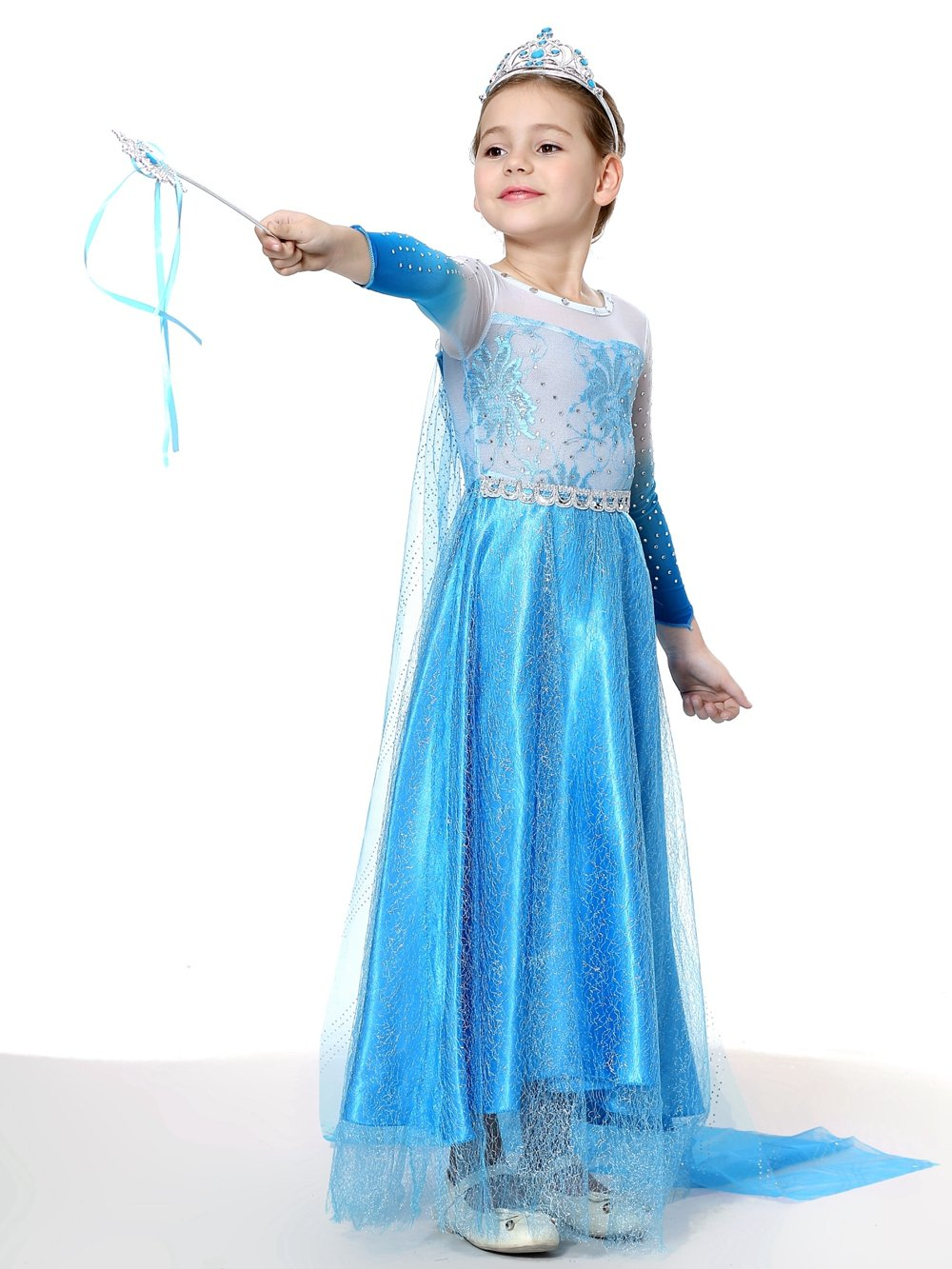 URAQT Elsa Frozen Costume Set da Principessa Elsa Corona Bacchetta Guanti Treccia Elsa Costume di Cosplay Party Halloween Costume Abito delle Ragazze di Natale Vestito Fantasia