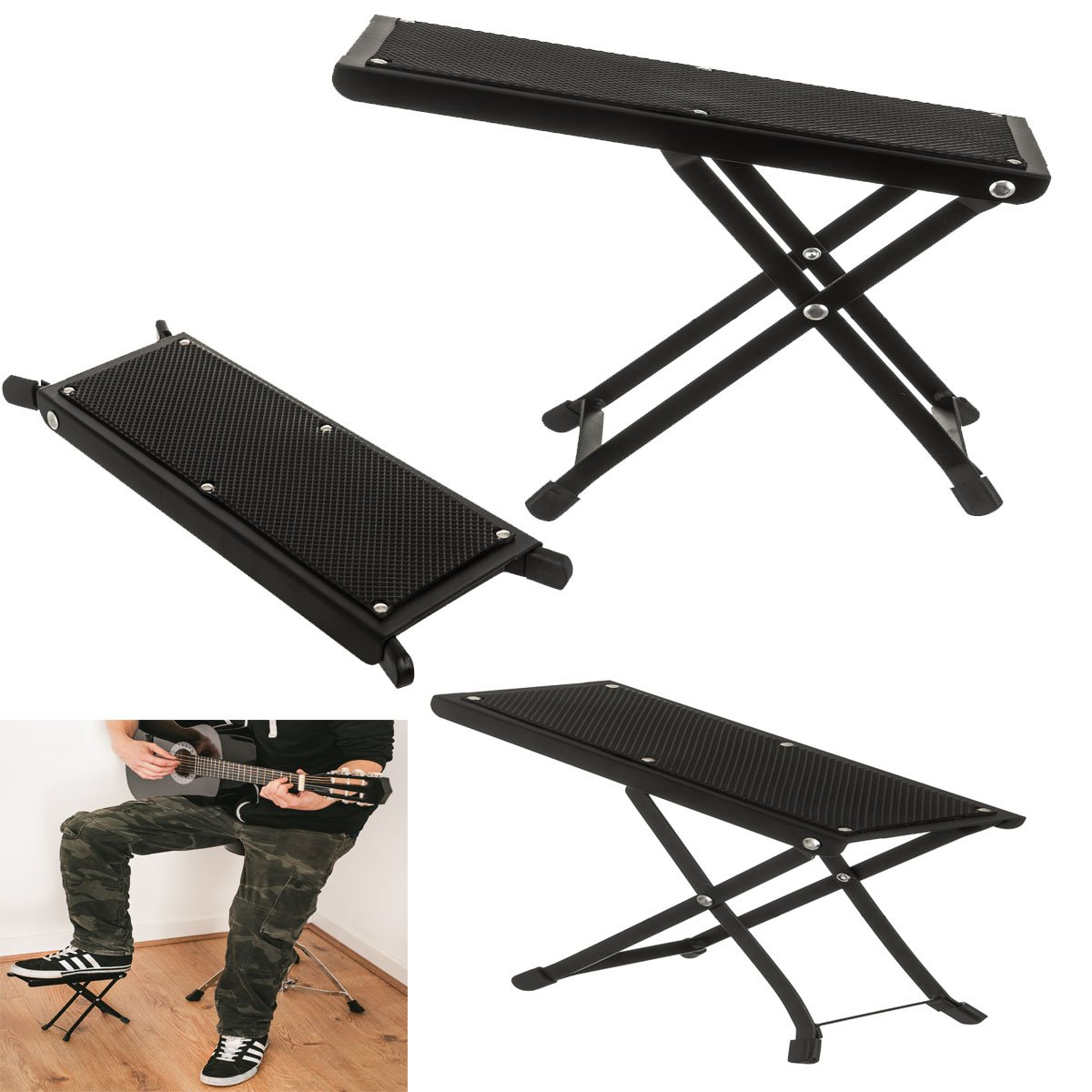 Adjustable Folding Guitar Foot Stool Metal Rest Acoustic Electric Practice Music FiNeWaY