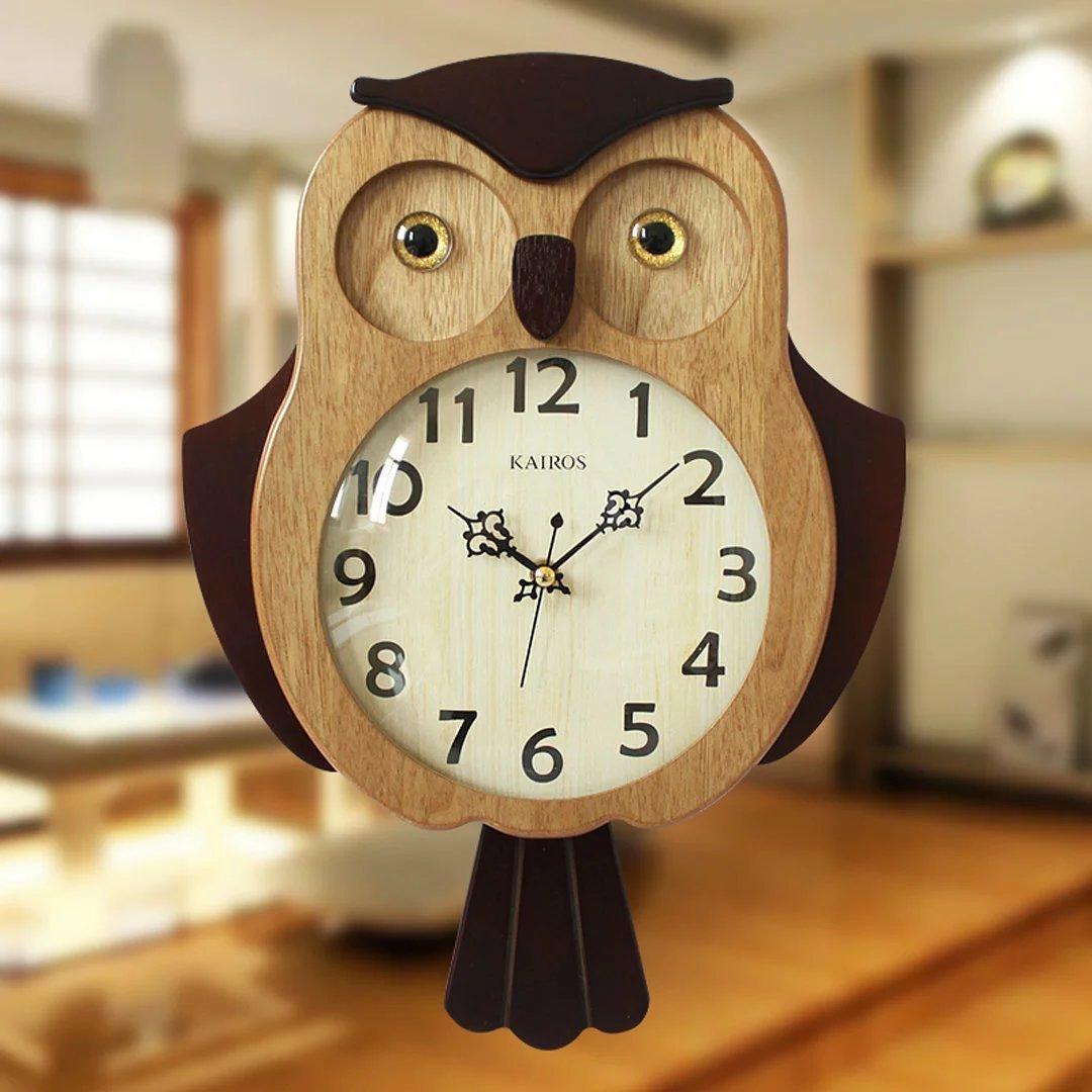 フクロウ 木質 柱時計 ヨーロッパ 家居 アクセサリー 創意 リビング 壁時計 ストラップ 木目色 B01LAOPZMC木目色