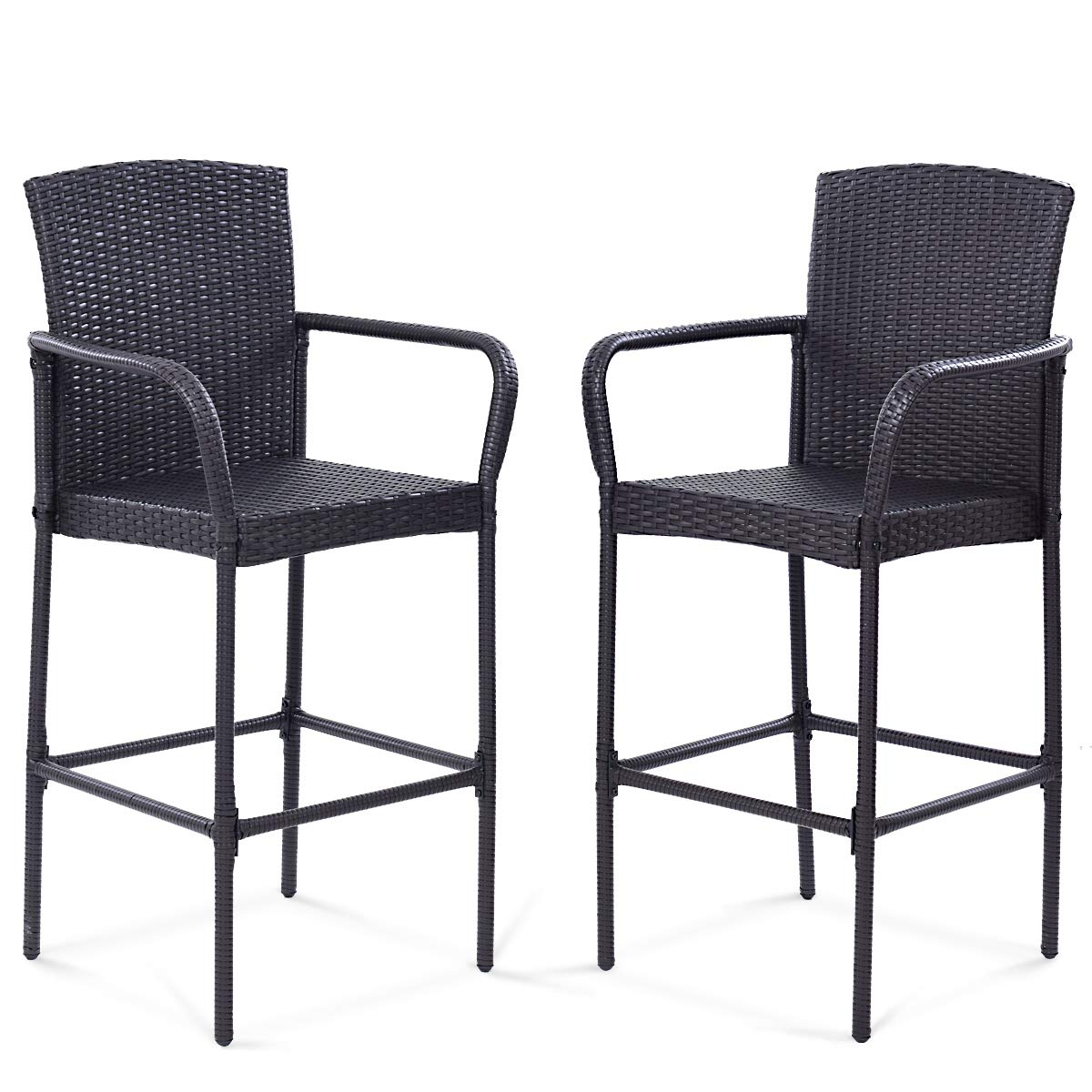 Tangkula Set of 2 Patio Bar Stools Indoor Outdoor Use Wicker Rattan Barstool with Footrest for Garden Pool Lawn Backyard Study Steel Frame Bar ChairsFurniture (Dark Brown 47'' H) (Mix Brown) by Tangkula