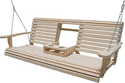 Ecommersify Flip Cup Holder Console Rot-resistant Cypress Eternal Wood Lumber Roll Back Porch Swing, 5-Feet