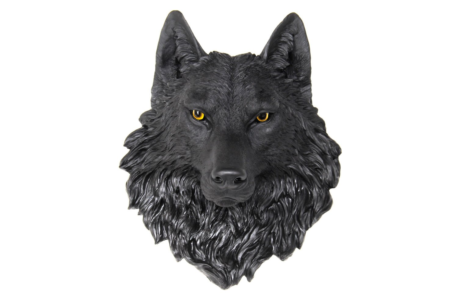 Near and Deer Faux Taxidermy Wolf Head Wall Mount, Black/Natural by Near and Deer