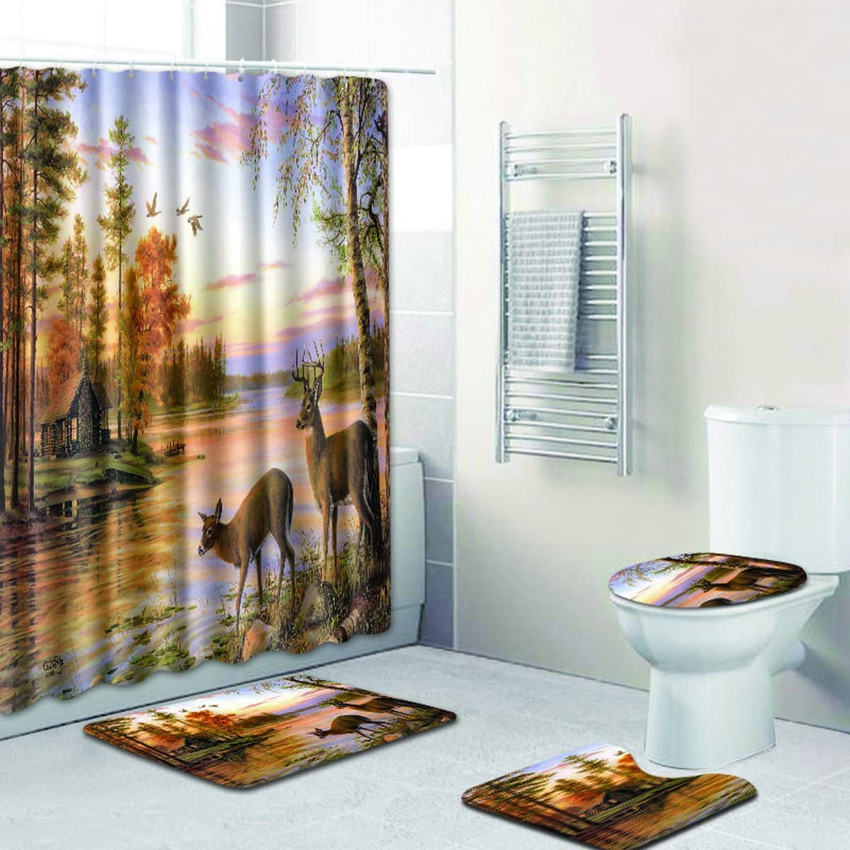 Animal Deer River Forest Sunset Fabric Shower Curtain Toilet Cover Rugs Mat Set