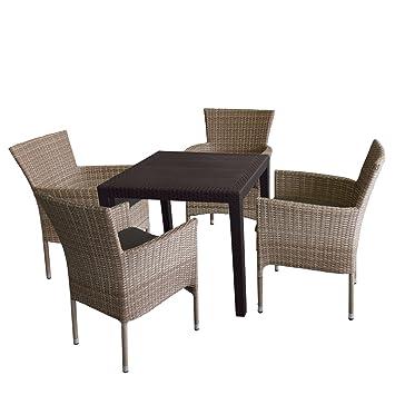 5 piezas. Mobiliario de jardín mesa de jardín, plástico ...