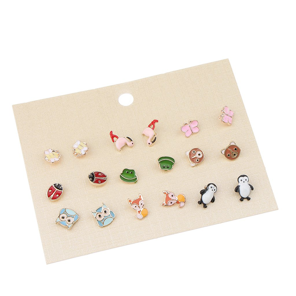 MagiDeal 9 Pairs Enamel Animal Insect Bug Assorted Stud Earring Set Cute Little Girls non-brand