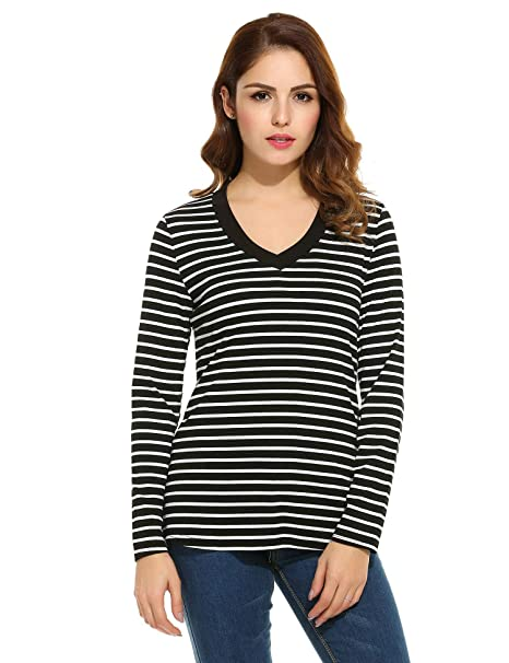 foikte Women s V-Neck Long Sleeve T-Shirt Striped Tops Casual Tunic Blouse  at Amazon Women s Clothing store  af1ebbce7