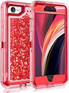 Ballaber iPhone 6 6s 7 8 Case, iPhone SE 2020 Glitter Women Cases 3 in 1 Full Body Heavy Duty Defender Protective Bling Liquid Shell Shockproof TPU Cover for iPhone 6/6S/7/8/SE 2020 4.7 inch (Red)