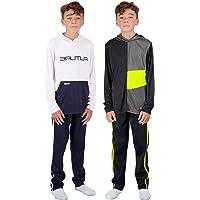 Hind Boys 4 piezas Active manga larga camiseta de secado rápido y pantalón deportivo deportivo para niños ropa deportiva…
