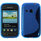 PhoneNatic Samsung Galaxy Young Hülle Silikon blau S-Style Case Galaxy Young Tasche + 2 Schutzfolien