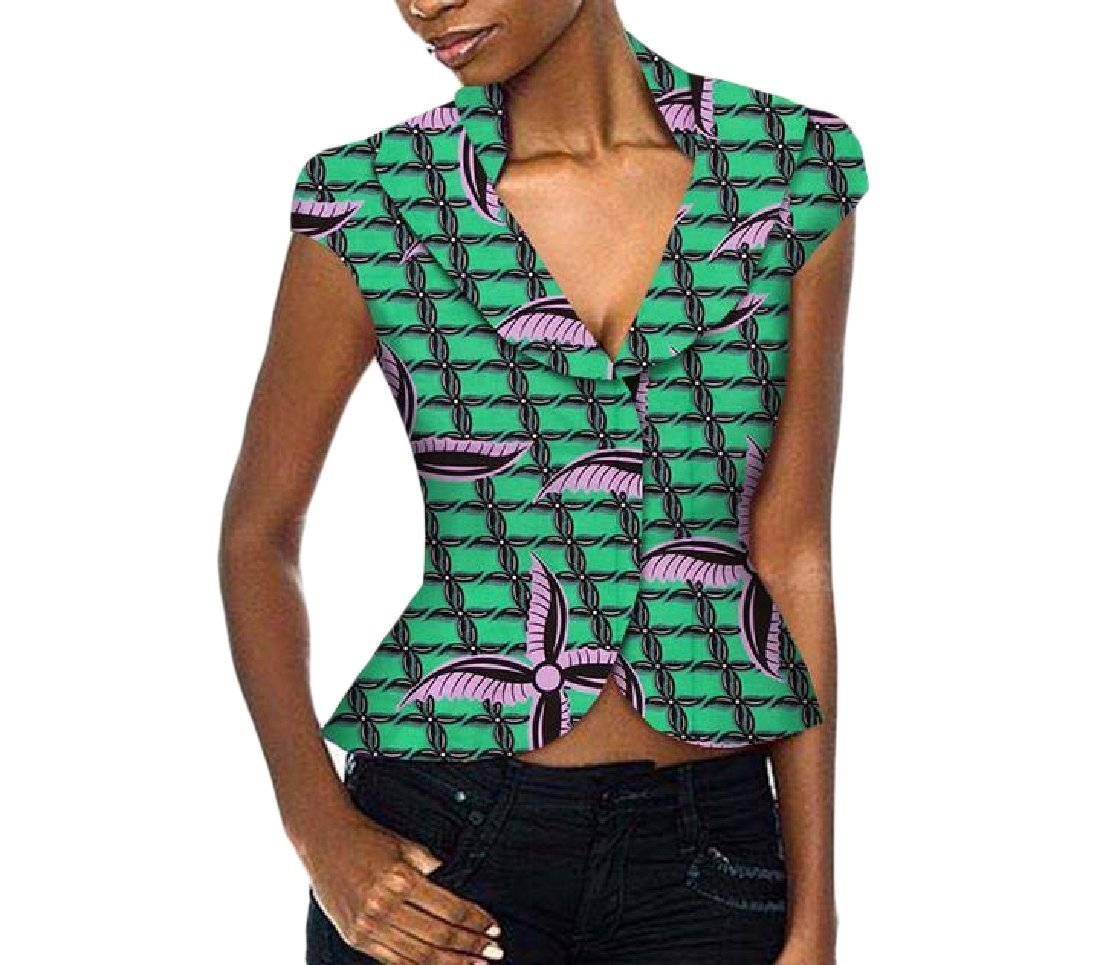 Sankt Women's Slim Fit African Print Shirt Wrap Lapel Top Blouse Jacket 8 XS