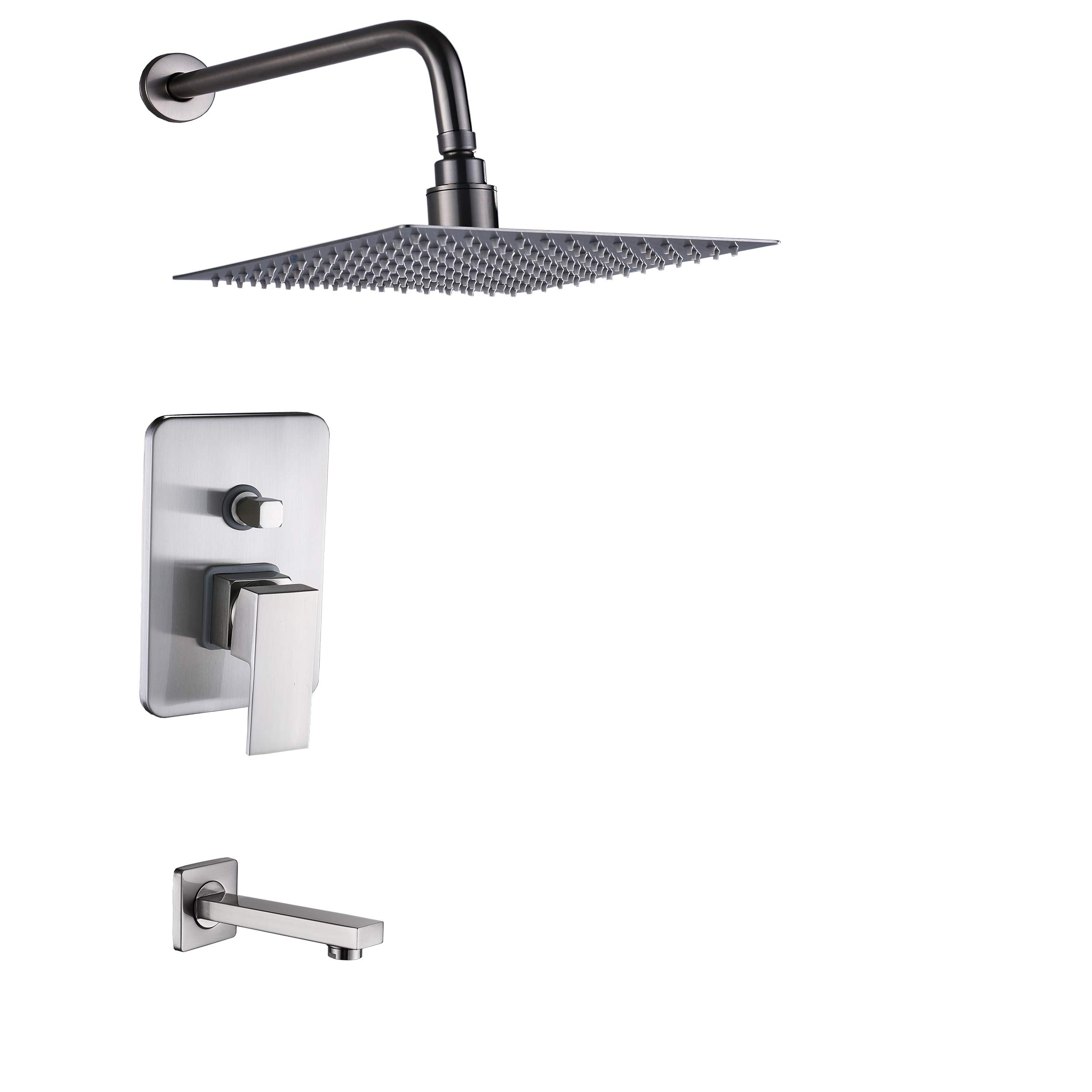 Rozin Brushed Nickel 2-way Mixer 10'' Square Rainfall Showerhead with Tub Spout Wall Mounted