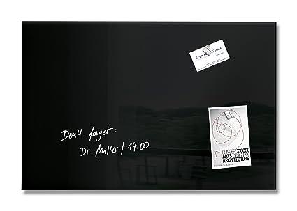 SIGEL GL120 Pizarra de cristal magnética Artverum, negro, 60x40 cm