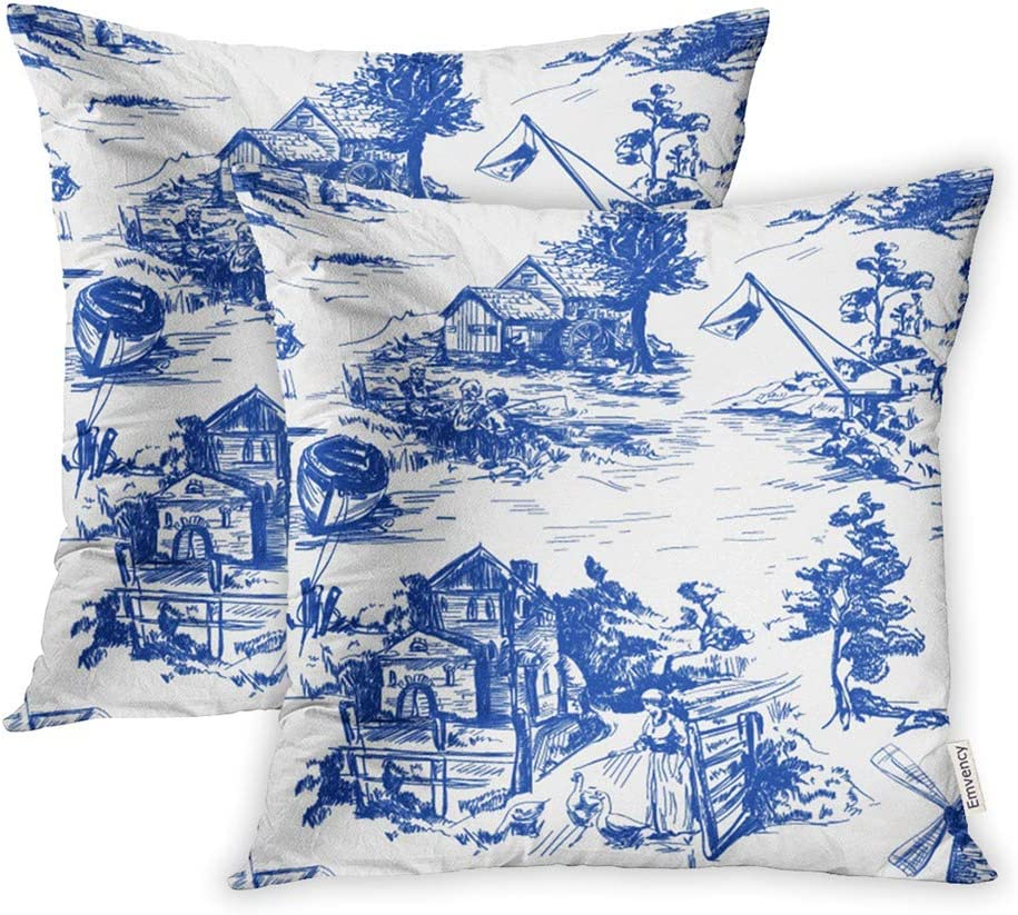 Emvency Set of 2 Throw Pillow Covers Print Polyester Zippered Classic Pattern Old Town Village Scenes of Fishing in Toile De Jouy White Pillowcase 18x18 Square Decor for Home Bed Couch Sofa