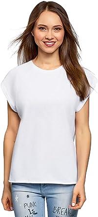 oodji Ultra Mujer Camiseta de Algodón Básica: Amazon.es: Ropa y accesorios