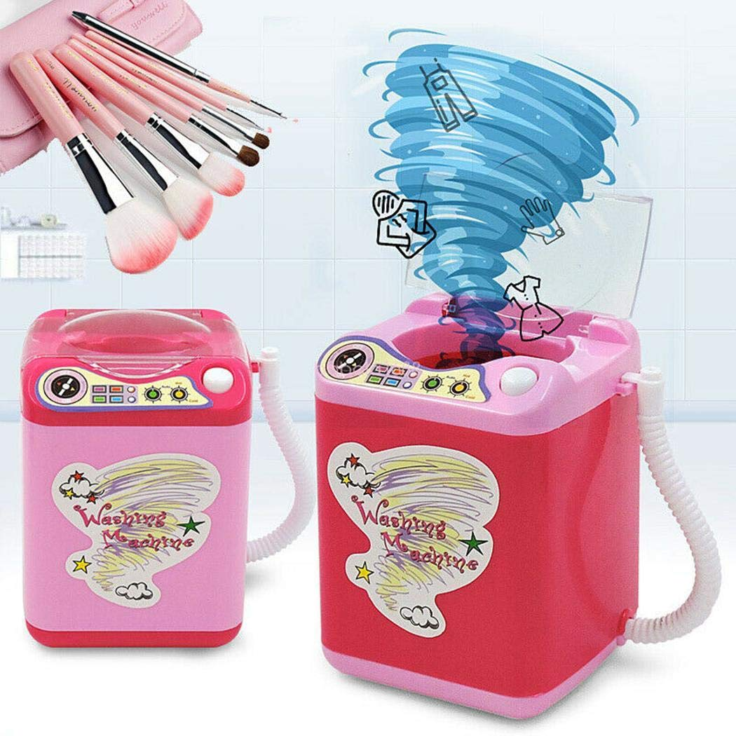xinnio Makeup Brush Cleaner Device,Miniature Automatic Cleaning Washing Machine Mini Toy Kids Children Pretend Play