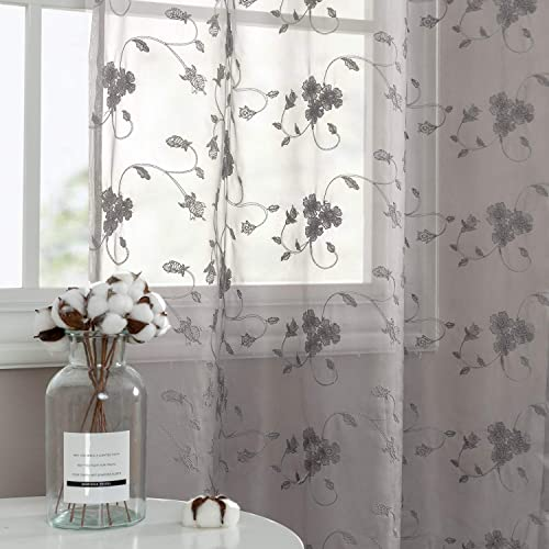 Grey Sheer Curtains with Embroidery Design Drapes for Living Room 84 inch Length Rod Pocket Floral Voile Window Curtain for Bedroom Set of 2