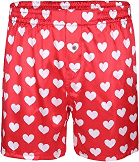 Agoky Men's Silky Satin Boxer Briefs Shorts Underwear Love Heart Print Lounge Pajamas Panties