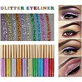 Ownest 10 Colours Liquid Glitter Eyeliner,Metallic Shimmer Glitter Eyeshadow, Long Lasting Waterproof Shimmer Sparkling…
