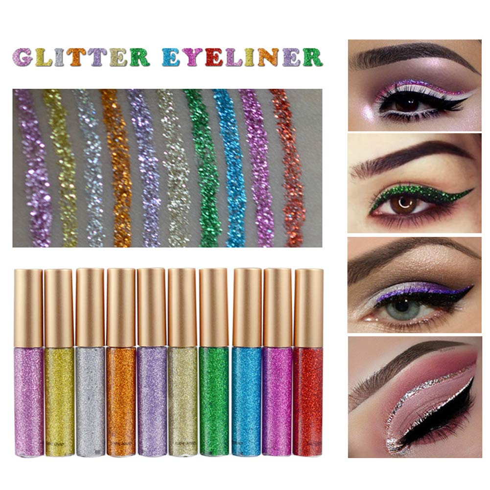 Ownest 10 Colors Liquid Glitter Eyeliner, Metallic Shimmer Glitter Eyeshadow, Long Lasting Waterproof Shimmer Sparkling Eyeliner Eye Shadow-10pcs