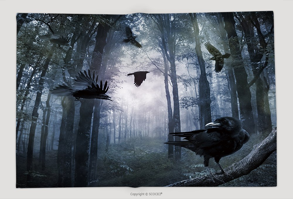 Supersoft Fleece Throw Blanket Black Crows Flying In The Forest In The Night 240278626 by vanfan