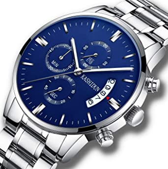 Mens Watches Luxury Sports Casual Fashion Quartz Wristwatches Waterproof Chronograph Calendar Date Stainless Steel Band Blue
