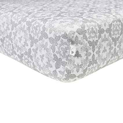 Burt's Bees Baby - Paisley Bee Fitted Crib Sheet, 100% Organic Crib Sheet for Standard Crib and Toddler Mattresses (Fog)