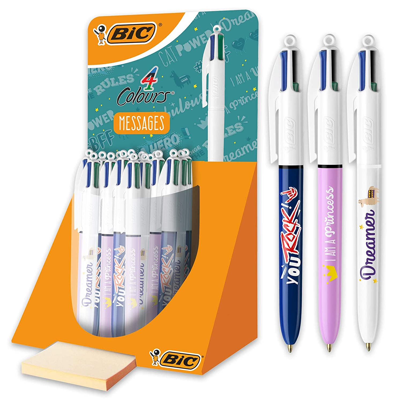 BIC 4 Colours Ball Pens Purple Pen Holder Of 6