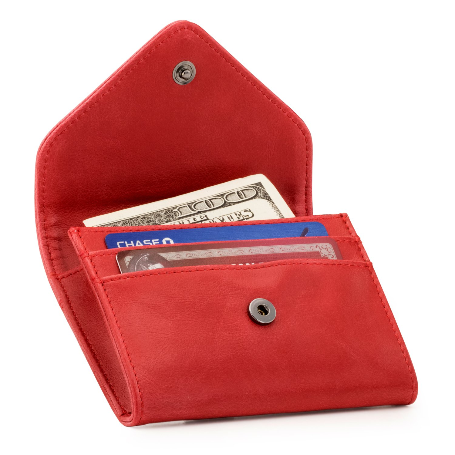 OTTO Leather Coin and Credit Card Organizer - RFID Blocking – Unisex (Red)