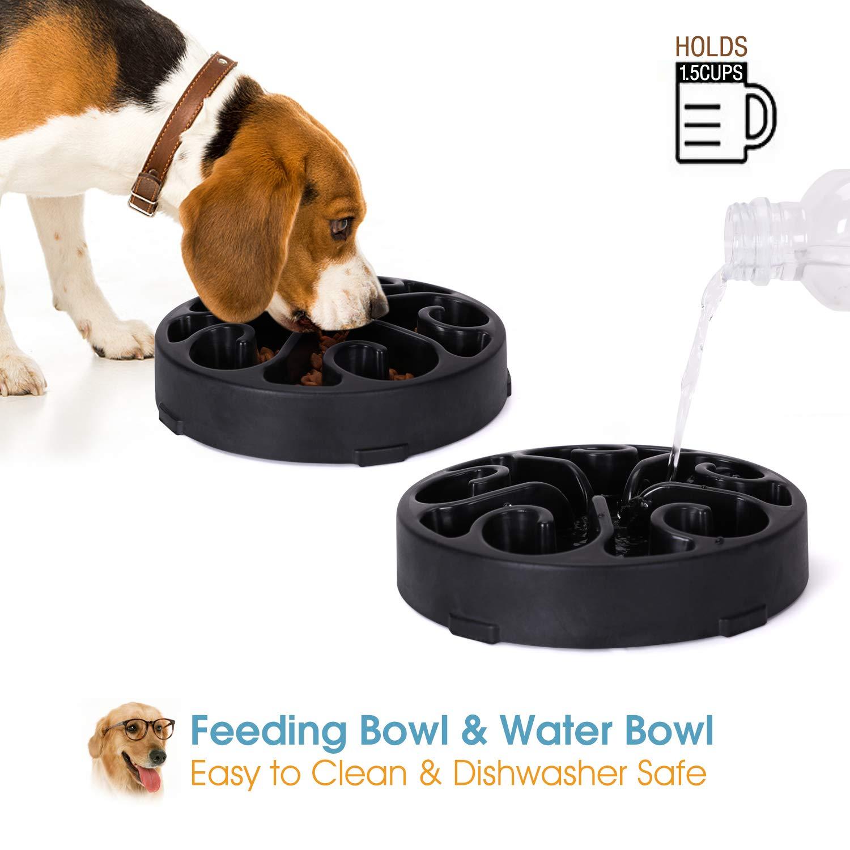 Whippy Fun Slow Feeder Dog Bowl, Upgrade Non Slip Puzzle Bowl Fun Feeder Interactive Bloat Stop Dog Bowl (Black, 1.5-2 Cup)