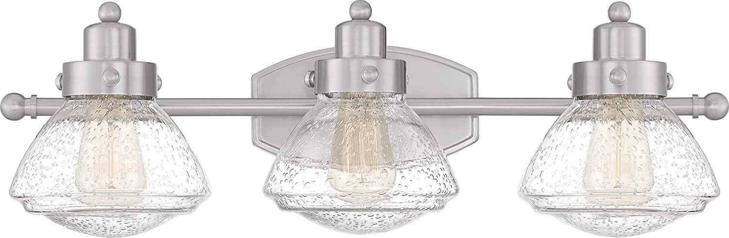 Quoizel SCH8603BN Scholar Glass Schoolhouse Vanity Wall Lighting, 3-Light, 300 Watts, Brushed Nickel 8 H x 25 W