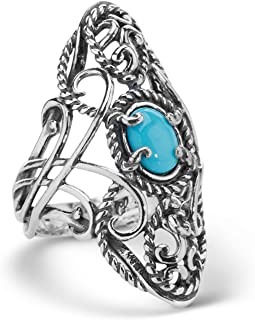 product image for Carolyn Pollack Sterling Silver Sleeping Beauty Turquoise Gemstone Rope and Scroll Elongated Ring Size 5 to 10