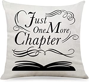 "Ihopes Funny Just One More Chapter Pillow Covers -Library Pillow Case Cushion Cover for Sofa Couch Living Room Decor Gifts for Bookworm Teens Men Women Friends(18""x 18""Inch)"